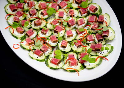 catering seared tuna and cucumber bites | Venue Catering Lincoln, NE